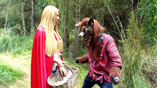 Lexi Lowe as a Little Red Riding Hood met big bad wolf