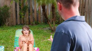 Bad girl get caught at his pool