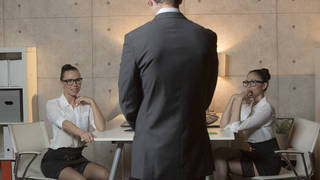 Lucky boss having threesome with his two secretaries
