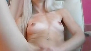 Lovelly blondie fingering on chair