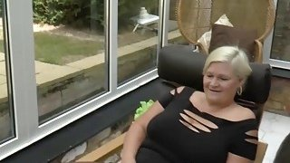 Horny blonde granny seduced pool boy into banging