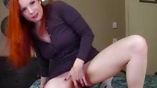 Big ass redhead mom rides panty-sniffing boy's cock in POV