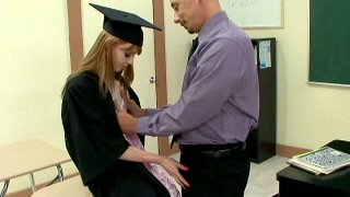 Graduating red haired student sucks strong cock