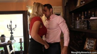 Busty seductress Charlee Chase sucks cock